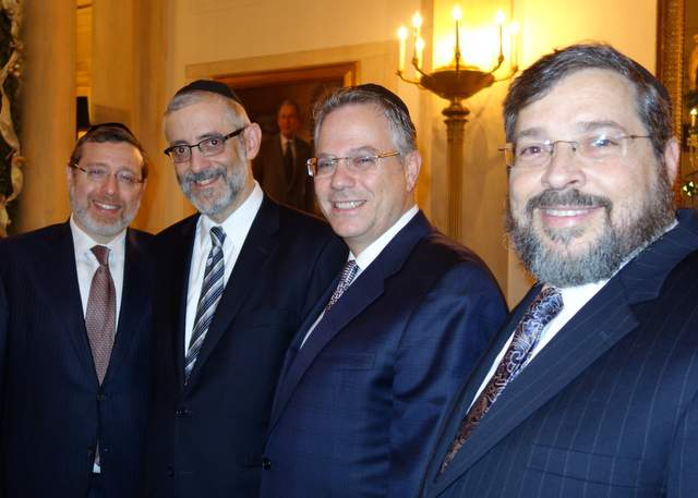 Agudath Israel Participates in White House Chanukah Reception  (L to R) Reuven Wolf, Chaim Dovid Zwiebel, Duvi Gross, Abba Cohen