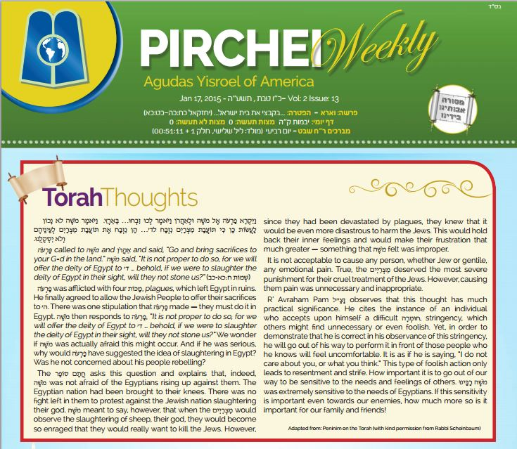 Pirchei Weekly 5775 Va'eira - cover