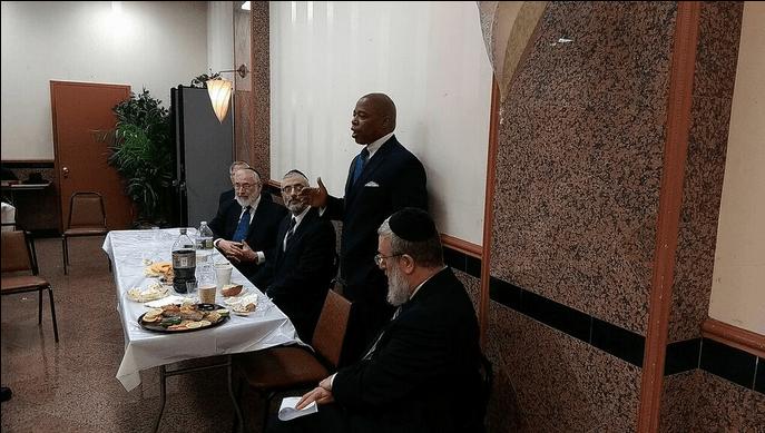 Brooklyn Borough President Eric Adams addressing Agudath Israel's National Officers/Vaad Hanhala on April 22
