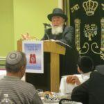 HaRav Reuven Feinstein, Rosh Yeshiva, Yeshiva Tifereth Yerushalayim, Staten Island, delivering Divrei Chizuk at the Siyum