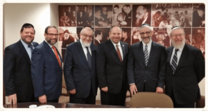 Pictured: Chaskel Bennet, Leon Goldenberg, Rabbi Shmuel Lefkowitz, Councilman Rory Lancman, Rabbi Chaim Dovid Zwiebel, Rabbi Labish Becker