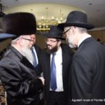 Israeli Minister of Health MK Rabbi Yaakov Litzman speaking with Rabbi Moshe Matz and Rabbi Chaim Dovid Zwiebel. Also pictured is Mr. Chaskel Bennett.