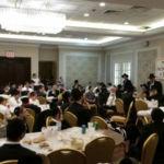 Rabbi Ephraim Levi, Pirchei\'s National Director, addressing the Melave Malka