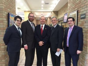 (L-R) Rabbi Yitz Frank, Agudath Israel Ohio director; Rabbi Avrohom Drandoff, Columbus Torah Day School Judaic Studies Principal; Ohio State Representative Andrew Brenner (R-Powell), Ohio House Education Chairman; Rabbi Samuel Levine, Head of School Columbus Torah Day School; Howie Beigelman, executive director Ohio Jewish Communities