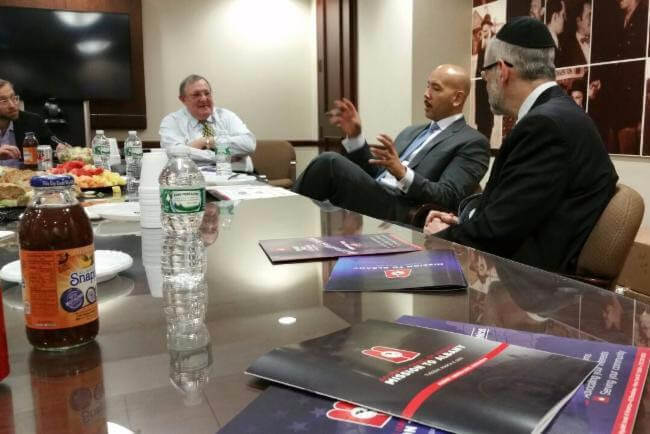 Bronx Boro President, Ruben Diaz Jr., discusses community matters at Agudath Israel of America's Manhattan headquarters