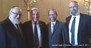 Assemblyman David Weprin with Members of Agudath Israel's Government Affairs Team(L-R): Rabbi Shmuel Lefkowitz, Vice President for Community Affairs; Assemblyman Weprin; Leon Goldenberg, Member, Agudah's Board of Trustees; Rabbi Yeruchim Silber, Director, NY Government Relations