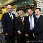 (L-R) Rabbi Yeruchim Silber, Agudah\'s Director, NY Government Relations; Mr. Michael Salzbank, Bnos Malka Academy; Rabbi Yonoson Karman, Yeshiva Ketana of Queens; and Rabbi Moshe Friedler, Ezra Academy
