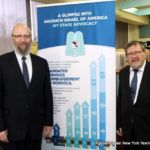 Rabbi Yeruchim Silber, Agudah\'s Director, NY Government Relations and Rabbi Yaakov Lonner, Yeshiva of Central Queens and host of the meeting