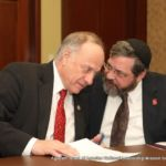 Representative Steve King (R-IA) (Left) confers with Rabbi Abba Cohen, Agudath Israel\'s Vice President for Federal Affairs and Washington Director and Counsel