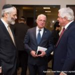 Rabbi Chaim Dovid Zwiebel with Assemblymen Schaer and Assemblyman Thompson