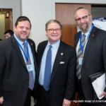 Chaskel Bennett, Member, Agudah\'s Board of Trustees, Senator Peter Harckham, and Rabbi Yeruchim Silber, Agudah\'s Director, New York Government Relations