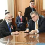 Rabbi Chaim Dovid Zwiebel, Agudah\'s Executive Vice President, with U.S. Attorney General William Barr