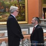 Rabbi Shlomo Soroka, Director of Government Affairs, Agudath Israel of Illinois (right) Speaks with House Republican Leader Jim Durkin
